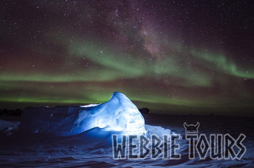 Aurora Australis & LED-lit igloo